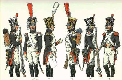 Dress uniforms of Fusilier-Chasseurs and Fusilier-Grenadiers of the Middle Guard.